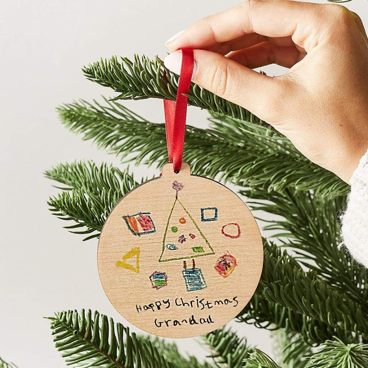 Personalised Child's Drawing Christmas Bauble Create Gift Love