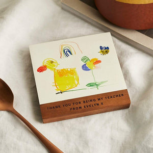Personalised Child's Drawing Coaster Create Gift Love