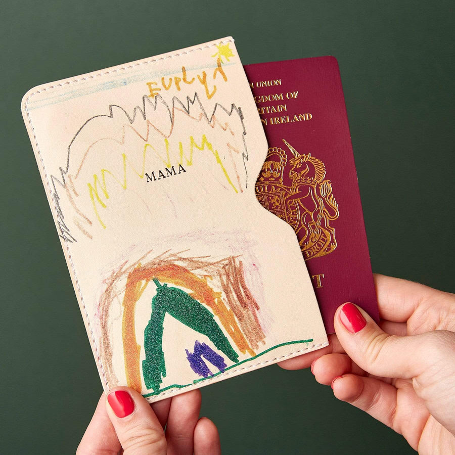 Personalised Child's Drawing Leather Passport Holder Create Gift Love