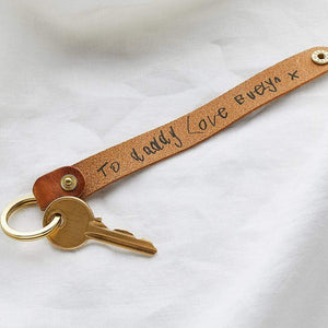 Personalised Child's Handwriting Leather Keyring Create Gift Love