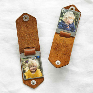 Personalised Double Photo Keyring with Leather Case Create Gift Love