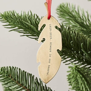 Personalised Feather Remembrance Christmas Decoration Create Gift Love