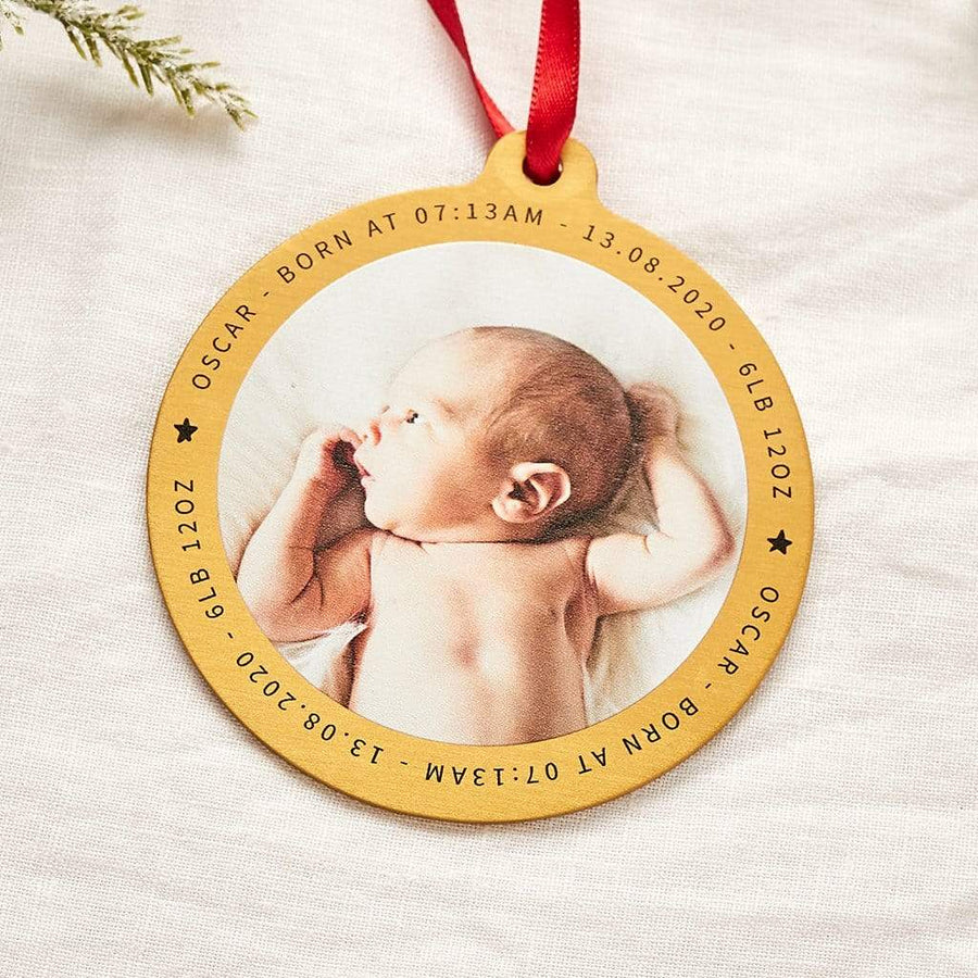 Personalised First Christmas Brass Photo Bauble Create Gift Love