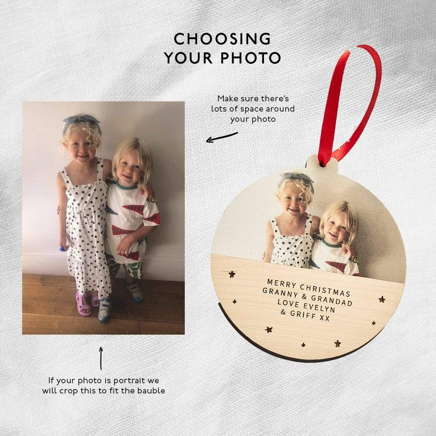 Personalised First Christmas Wooden Photo Bauble Create Gift Love