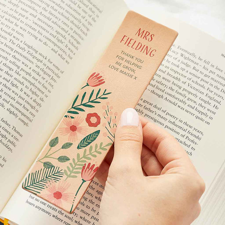 Personalised Floral Bookmark Teacher Gift Create Gift Love