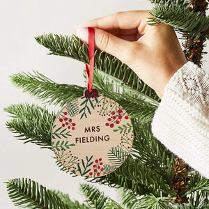 Personalised Floral Christmas Bauble Teacher Gift Create Gift Love