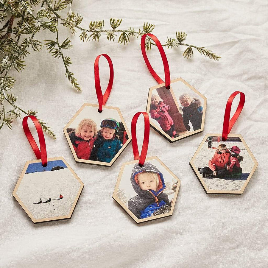 Personalised Hexagon Photo Christmas Decoration Set Create Gift Love