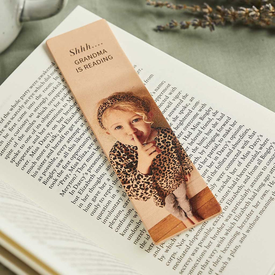 Personalised Leather Bookmark with Photo Create Gift Love