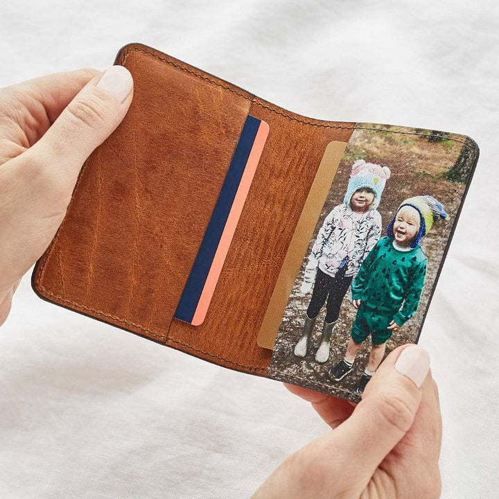Personalised Leather Card Holder With Photo Create Gift Love