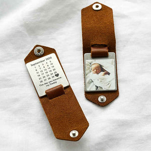 Personalised Leather Case Photo Keyring with Calendar Create Gift Love