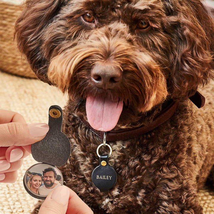 Personalised Leather Dog Name Tag With Photo Create Gift Love