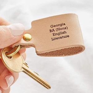 Personalised Leather Keyring Create Gift Love