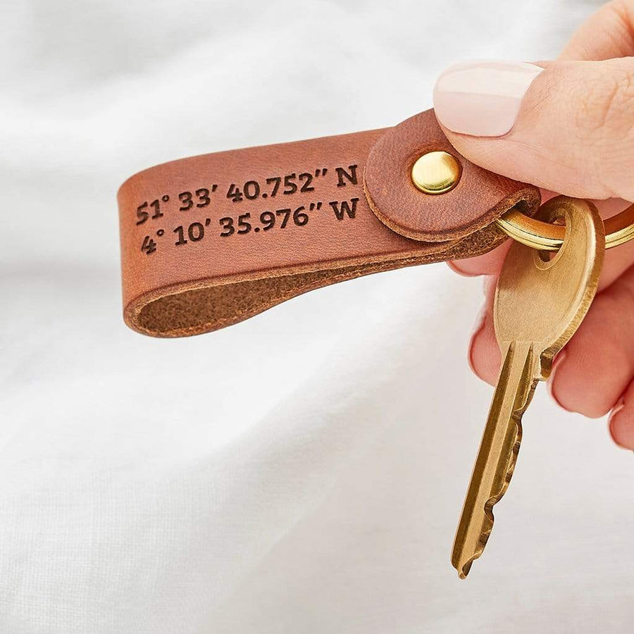 Personalised Leather Keyring Set Create Gift Love