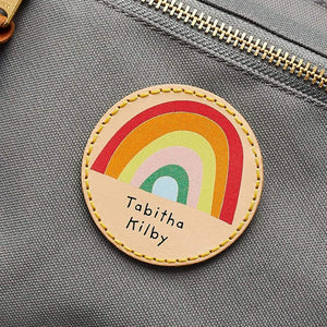 Personalised Leather School Bag Patch Rainbow Create Gift Love