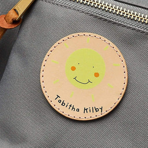 Personalised Leather School Bag Patch Sunshine Create Gift Love