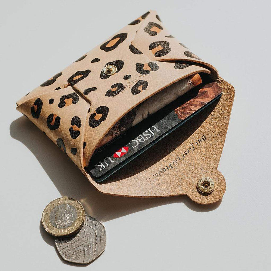 Personalised Leopard Print Leather Coin Purse Create Gift Love