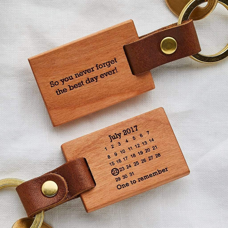 Personalised Never Forget Calendar Keyring Create Gift Love