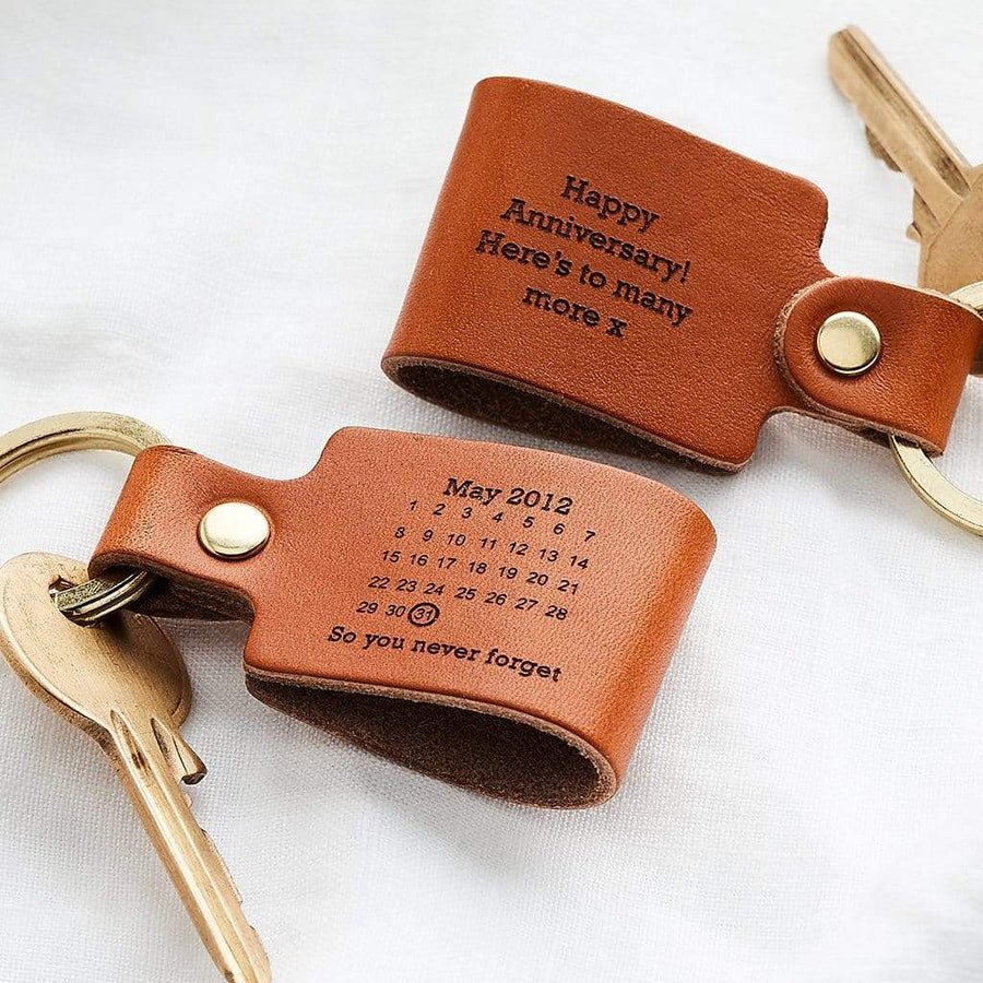 Personalised Never Forget Date Leather Keyring Create Gift Love