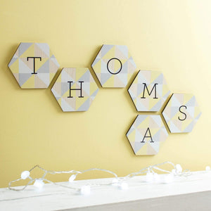 Personalised Nursery Wall Art Name Hexagons Create Gift Love