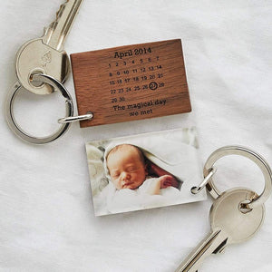 Personalised Photo Calendar Wood And Acrylic Keyring Create Gift Love