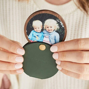 Personalised Photo Compact Mirror With Leather Case Create Gift Love