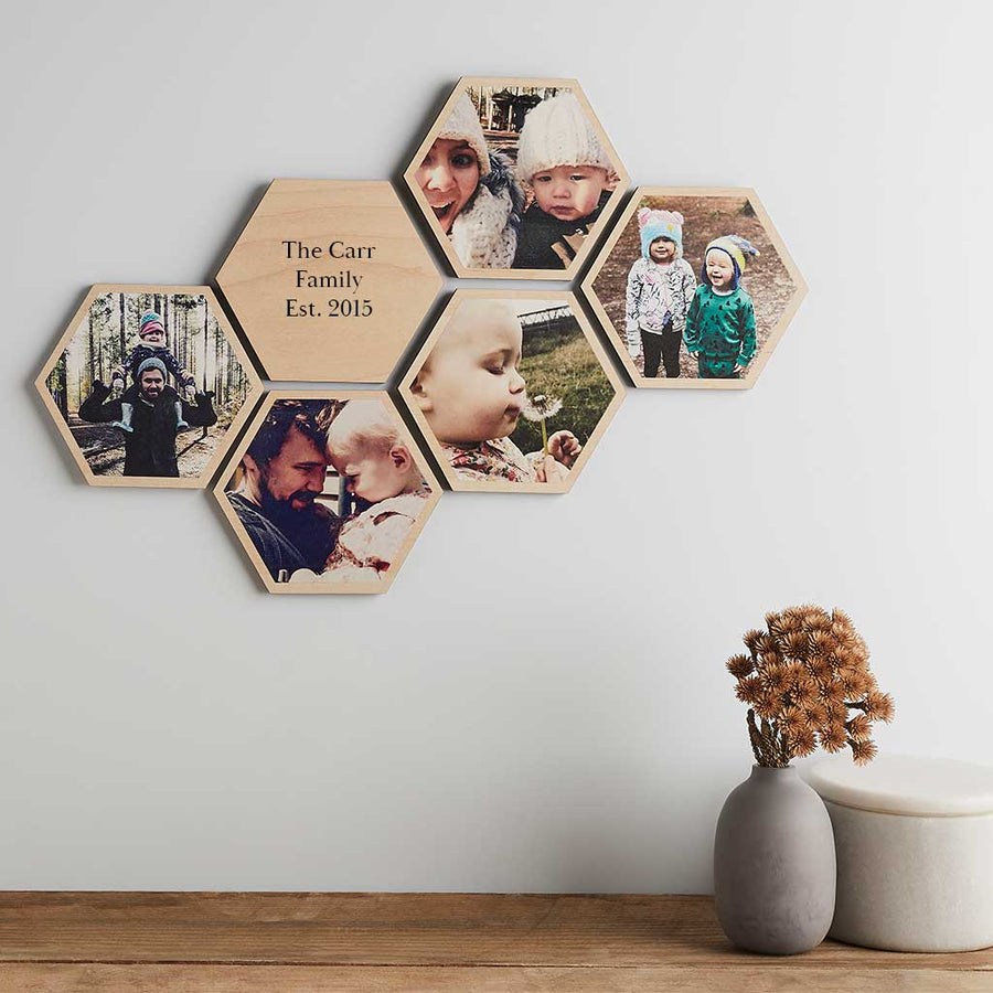 Personalised Photo Wooden Hexagon Wall Art Set Create Gift Love