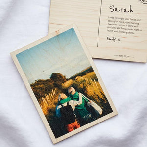 Personalised Postcard Keepsake with Photo - Wooden Create Gift Love