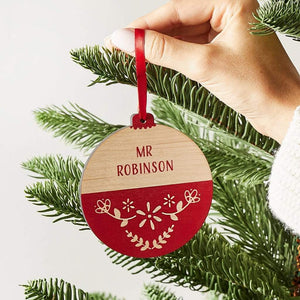 Personalised Scandi Christmas Bauble Teacher Gift Create Gift Love