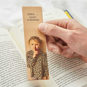 Personalised 'Shhh…' Leather Bookmark with Photo Create Gift Love
