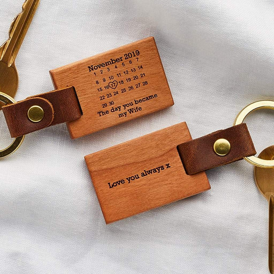 Personalised 'The Day You Became My' Calendar Wood Keyring Create Gift Love