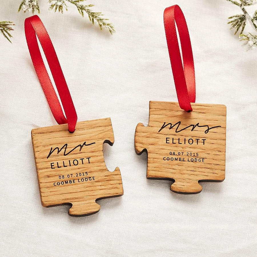 Personalised Wedding Christmas Jigsaw Decoration Create Gift Love