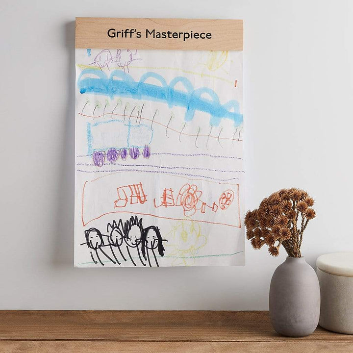 Personalised Wood Children's Artwork Holder Create Gift Love