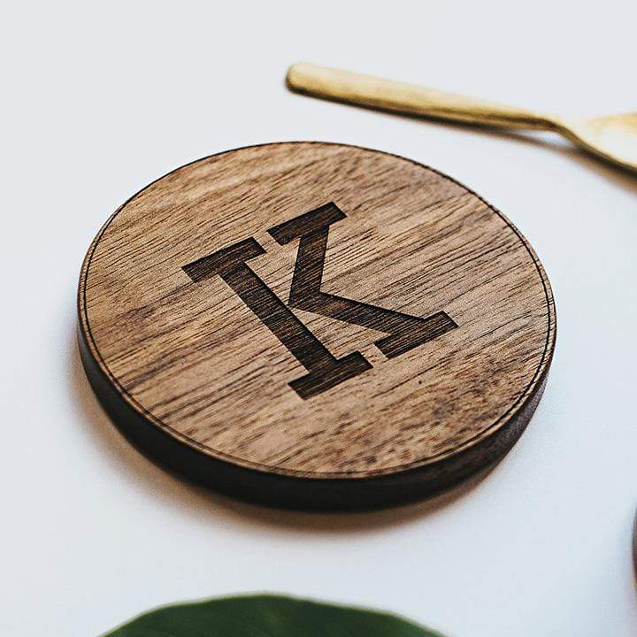 Personalised Wood Initial Coaster Create Gift Love