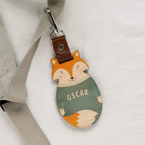 Personalised Wood School Bag Tag Fox Create Gift Love