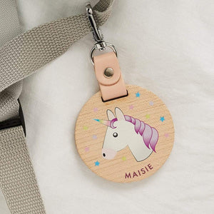 Personalised Wood School Bag Tag Unicorn Create Gift Love