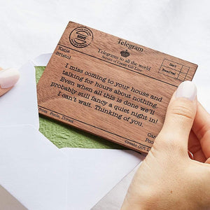 Personalised Wood Telegram Create Gift Love