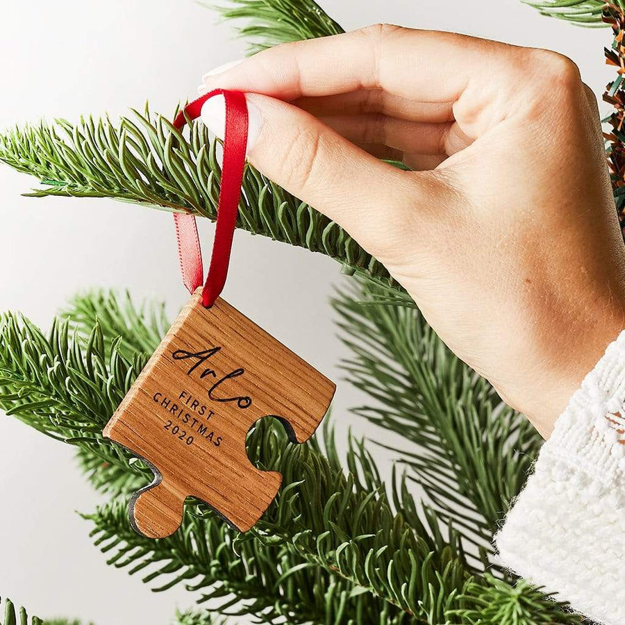 Personalised Wooden Baby First Christmas Decoration Create Gift Love