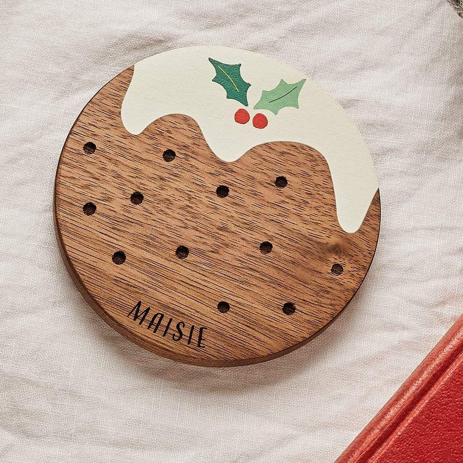 Personalised Wooden Christmas Pudding Coaster Set Create Gift Love