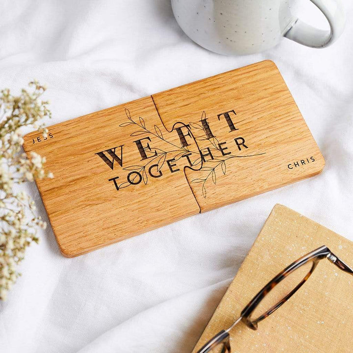 Personalised Wooden Coaster Jigsaw Set Create Gift Love