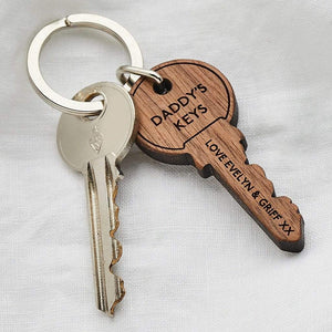 Personalised Wooden Key Shape Keyring Create Gift Love