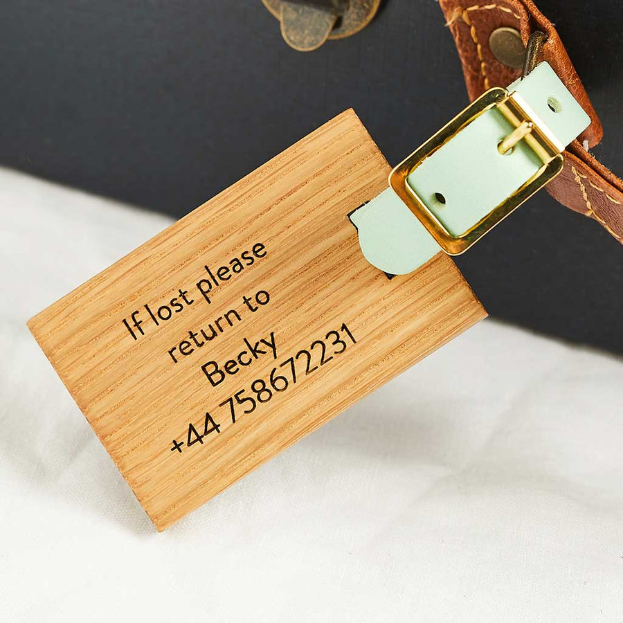 Personalised Wooden Luggage Tag Initial Create Gift Love