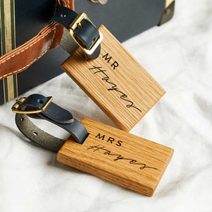 Personalised Wooden Luggage Tag Mr and Mrs Create Gift Love