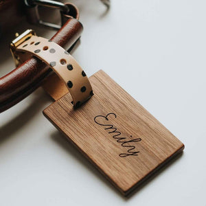 Personalised Wooden Luggage Tag With Patterned Strap Create Gift Love