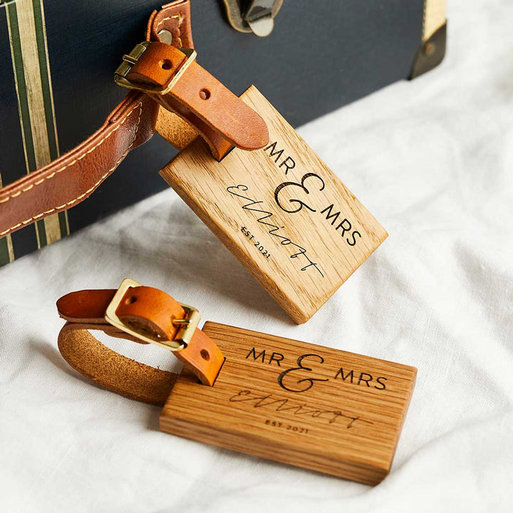 Personalised Wooden Luggage Tags Wedding Create Gift Love