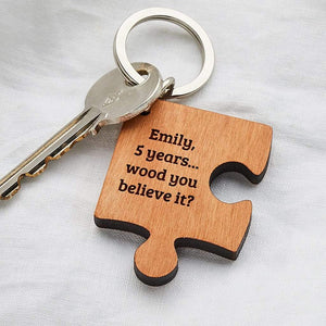 Personalised Wooden Missing Piece Jigsaw Keyring Create Gift Love