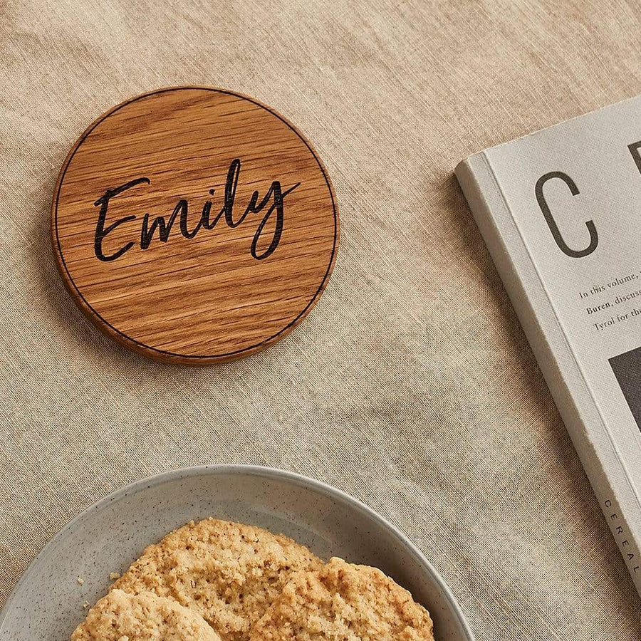 Personalised Wooden Name Coaster Create Gift Love