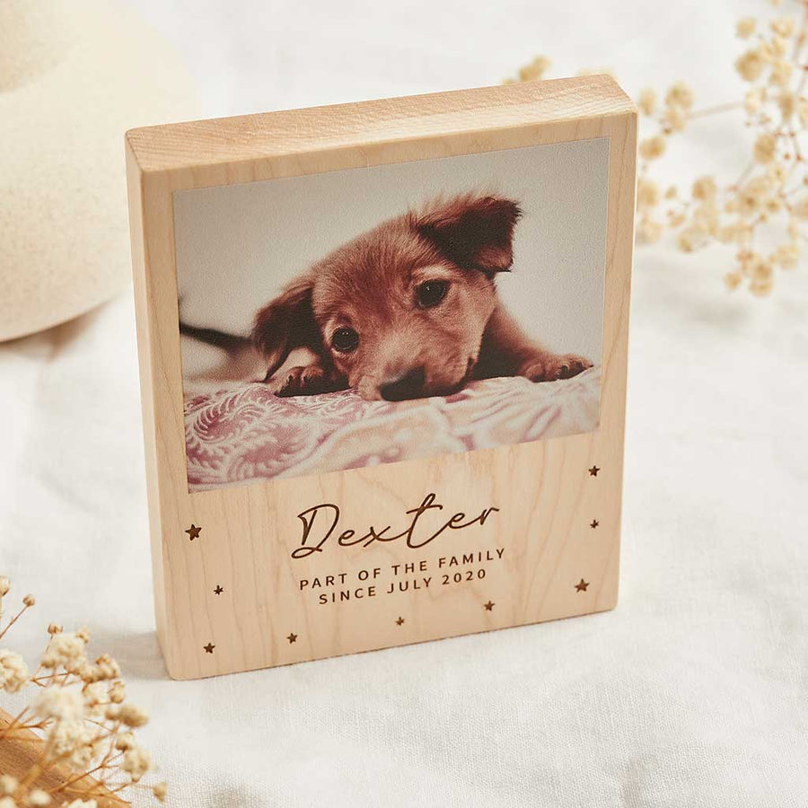 Personalised Wooden Photo Block with Engraved Name Create Gift Love