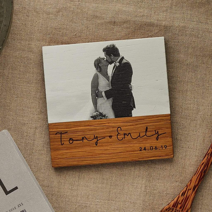 Personalised Wooden Photo Coaster Couples Create Gift Love