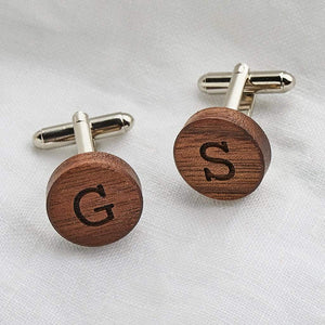 Personalised Wooden Round Cufflinks Create Gift Love