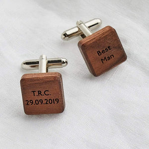 Personalised Wooden Square Cufflinks Create Gift Love